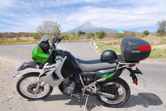 I rode this KLR650 to the volcano